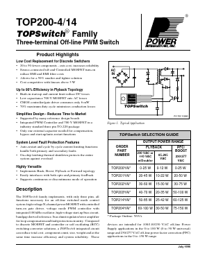 TOP200YAI Package:TO-220,Three-terminal Off-line PWM Switc
