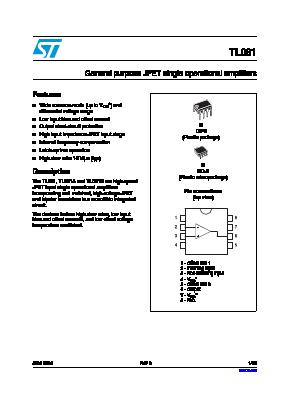 TL081B Datasheet, PDF - Qdatasheet